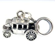 Western Stagecoach Sterling Silver Dangle Charm / Carrier Bead